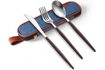 (3 piece,wooden) - ArderLive 3 PCS Travel Utensil Set with Case, Stainless Steel Reusable Portable Cutlery Flatware Set includes Spoon Knife Fork with Waterproof Case for Picnic Office Travel Lunch Boxes.