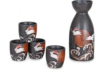 (Moon Rabbit Waves) - Hinomaru Collection Japanese Style Sake Set With 350ml Porcelain Sake Tokkuri Bottle Decanter and Four Ochoko Cups Drinkware Gift Set (Moon Rabbit Waves)