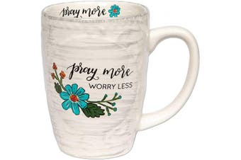 (Pray More Worry Less) - Brownlow Gifts Simple Inspirations Ceramic Coffee Mug, Pray More Worry Less