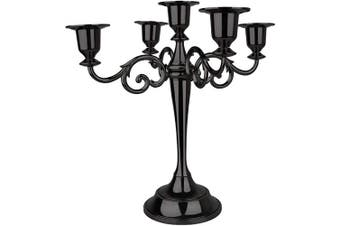 (Black) - AOSTON 5-Candle Metal Candelabra,26cm Tall Candle Holder, Classic Elegant Black Mirrored Finish Design Candlestick Stand, Wedding Event and Party Candle Stick (Black)