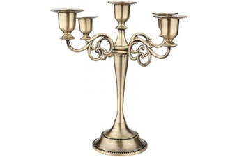 (Bronze) - AOSTON 5-Candle Metal Candelabra,26cm Tall Candle Holder, Classic Elegant Bronze Mirrored Finish Design Candlestick Stand, Wedding Event and Party Candle Stick (Bronze)