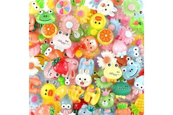 (100pcs - ColorA) - Slime Charms Cute Set - Charms for Slime Assorted Fruits Candy Sweets Flatback Resin Cabochons for Craft Making, Ornament Scrapbooking DIY Crafts (100pcs - ColorA)