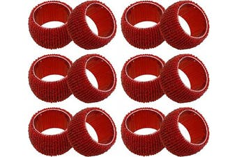 (Red) - SKAVIJ Glass Beads Napkin Rings Set for Dining Table Decoration Handmade (Dia-6.4cm , Pack of 12, Red)
