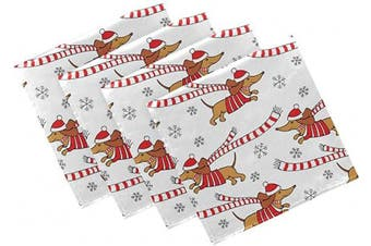 (4, Christmas #03) - Naanle Animal Dog Cloth Napkins Dinner Table Napkins Set of 4, Dachshund Solid Washable Reusable Polyester Napkins with Hemmed Edges for Home Holiday Party Wedding Oversized 50cm x 50cm