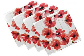 (4, Poppy Red) - Naanle Poppy Cloth Napkins Dinner Table Napkins Set of 4, Watercolour Floral Solid Washable Reusable Polyester Napkins with Hemmed Edges for Home Holiday Party Wedding Oversized 50cm x 50cm
