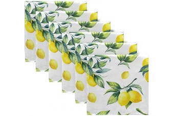 (N1) - ALAZA Lemons Cloth Napkins - 6pcs/Set 50cm x 50cm Washable Polyester Dinner Napkins - Great for Weddings, Parties, Holiday Dinner & More(18)