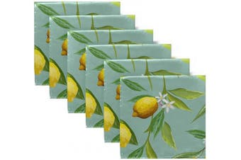 (N4) - ALAZA Lemons Cloth Napkins - 6pcs/Set 50cm x 50cm Washable Polyester Dinner Napkins - Great for Weddings, Parties, Holiday Dinner & More(365)