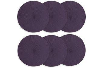 (6, Purple Set of 6) - Doupoo Round Place Mats for Kitchen Table,Vinyl Woven Placemats Heat Resistant Table mats (6, Purple Set of 6)