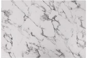 (Set of 8, B White Marble) - Jovono Marble Faux Laether PU Placemats, Set of 8, Easy to Clean, Heat & Stain Resistant for Conference Table,Dinging Home Office Decor