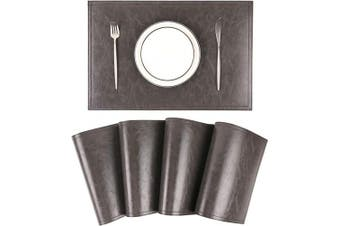 Jovono Waterproof PU Placemats, Faux Leather Dinging Table Mat, Set of 4, Easy to Wipe Off Scrub Vinyl Mat, Heat & Stain Resistant for Office Conference Table, Home Decor