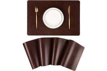 Jovono Faux Leather Placemats, Set of 4 PU Table Mats, Easy to Clean, Heat & Stain Resistant for Office Conference Table,Dinging Home Decor
