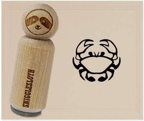 3//4 Inch Small Crab Icon Rubber Stamp for Stamping Crafting Planners
