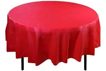 (210cm  Round - Set of 6, Red) - LAMINET Premium Eco-Friendly Disposable Tablecovers - Set of 6 - RED - 210cm Diameter