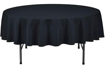 (210cm  Round - Set of 1, Black) - LAMINET Premium Eco-Friendly Disposable Tablecovers - Set of 1 - Black - 210cm Diameter