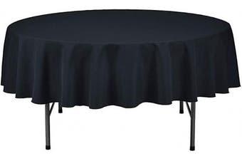 (210cm  Round - Set of 6, Black) - LAMINET Premium Eco-Friendly Disposable Tablecovers - Set of 6 - Black - 210cm Diameter