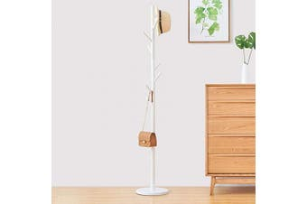 (White) - WALTSOM Coat Racks Free Standing, Wooden Coat Hat Tree with 8 Hooks and Solid Round Base, Hallway Entryway Coat Hanger Hook Stand for Clothes, Scarves, Handbags, NO Tools Required (White)