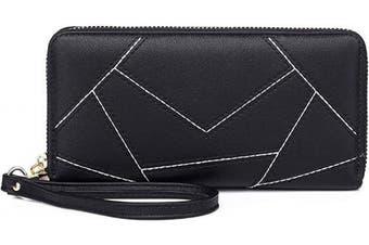 KOWENTIK Women Wallet Leather Zip Phone Clutch Large Travel Organiser Zipper Coin Purse Wristlet (Wallet tye3-Black)