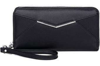 KOWENTIK Women Wallet Leather Zip Phone Clutch Large Travel Organiser Zipper Coin Purse Wristlet (Wallet tye1-Black)