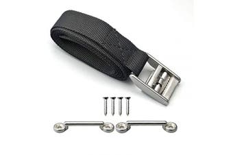 pool spa part 140cm Battery Tie Down Strap Kit Battery Hold Down Strap with Stainless Steel 316 Buckle, 2 Stainless Steel 316 Eye Strap Mounts, 4 SS Screws