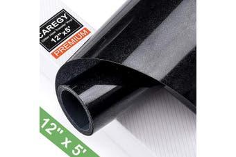 (Black) - Glitter 12Inx1.5m Black Heat Transfer Vinyl Roll(HTV) for DIY T-Shirt Clothing Garment Bags