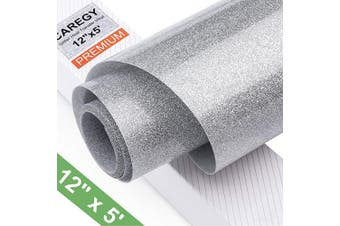 (Sliver) - Glitter 12Inx1.5m Silver Heat Transfer Vinyl Roll(HTV) for DIY T-Shirt Clothing Garment Bags