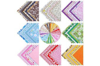 100 Pieces 10cm by 10cm Cotton Craft Fabric Bundle Squares Patchwork Pre-Cut Quilt Squares Quarters Bundle Sewing Fabric for DIY Accessory Sewing Craft Projects