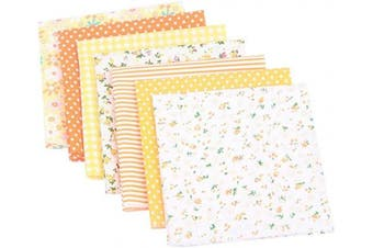 (Yellow) - Artibetter 7pcs Patchwork Fabric Quilting Fabric Squares Cotton Precut Quilt Sewing Floral Fabrics for DIY Craft (Yellow)