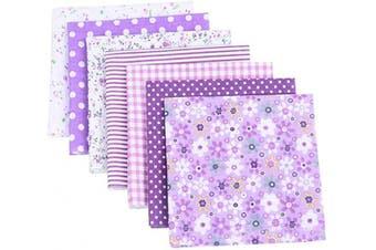 (Purple) - Artibetter 7pcs Patchwork Fabric Quilting Fabric Squares Cotton Precut Quilt Sewing Floral Fabrics for DIY Craft (Purple)