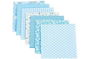 (Blue) - Artibetter 7pcs Patchwork Fabric Quilting Fabric Squares Cotton Precut Quilt Sewing Floral Fabrics for DIY Craft (Blue)