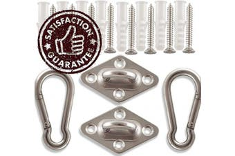 Amerigo Premium Hammock Hooks Best Hanging Kit for Your Relaxation - Heavy Duty - Set of 2 Pad Plates, Spring Snap Hooks, 8 Anchors and Lag Screws Made of Stainless Steel for Perfect Experience!