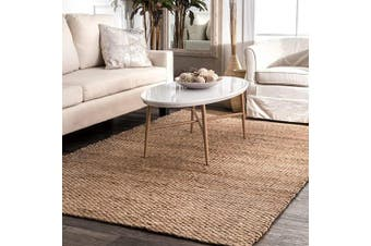 (0.6m x 0.9m, Natural) - nuLOOM Hailey Handwoven Accent Jute Rug, 0.6m x 0.9m, Natural