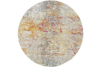 (0.9m Round, Grey/Turquoise) - Safavieh Madison Collection MAD460G Modern Contemporary Abstract Area Rug, 0.9m Round, Grey/Turquoise