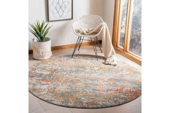 (0.9m Round, Grey/Orange) - Safavieh Madison Collection MAD460F Modern Contemporary Abstract Area Rug, 0.9m Round, Grey/Orange