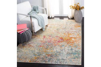(0.3sqm, Grey/Turquoise) - Safavieh Madison Collection MAD460G Modern Contemporary Abstract Area Rug, 0.3sqm, Grey/Turquoise