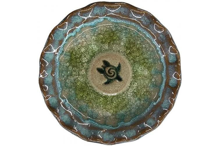 (F) - Artisan Series Glazed Pottery Sea Turtle Icon Decorative Only Dish 12cm in Diameter (F)