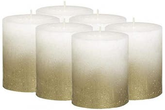 BOLSIUS Rustic Fading Metallic Gold & White Candles – Set of 6 Pillar Candles – 6 White Candles with a Fading Gold Metallic Coat – Perfect Décor Candle – Wedding – Party – 80/68mm 2.75X3.25 inch