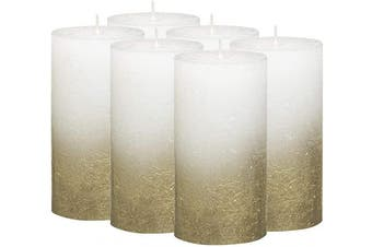 (13cm  X 7cm , Gold & White) - BOLSIUS Rustic Fading Metallic Gold & White Candles – Set of 6 Pillar Candles – White Candles with a Fading Gold Metallic Coat – Perfect Décor Candle – Wedding – Party –130/68m 5X2.75