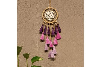 (Purple) - Artilady Small Dream Catcher for Cars - Bohemian Mini Dream Catchers for Cars Rear View Mirror Hanging Decoration (Purple)