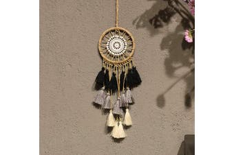 (Black Grey White) - Artilady Small Dream Catcher for Cars - Bohemian Mini Dream Catchers for Cars Rear View Mirror Hanging Decoration (Black Grey White)