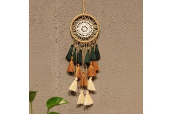 (Green Brown) - Artilady Small Dream Catcher for Cars - Bohemian Mini Dream Catchers for Cars Rear View Mirror Hanging Decoration (Green Brown)