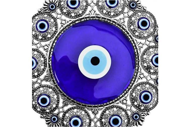 Blue Eye Erbulus Turkish X Large Glass Blue Evil Eye Wall Hanging Ornament With Round Eye