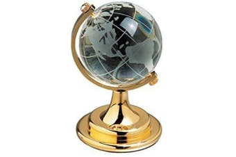 Amlong Crystal Etched Crystal Globe on Brass Coloured Base - 10cm Tall