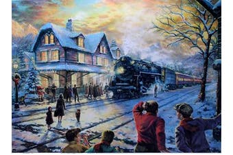 Winter Train 1000 Large Piece Jigsaw Puzzle for Kids Adults - 70 x 50cm Size