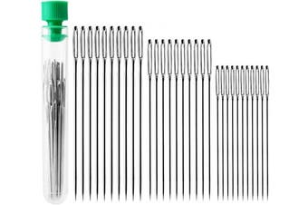 "(30 pcs) - AIEX 30pcs Big Eye Hand Sewing Needles Large Eye Stitching Needles in a Clear Tube Upholstery Needles Set 1.6"" 2"" 2.4"""