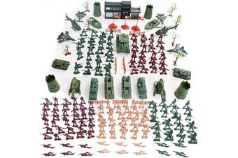 (146 Pcs) - 146 PCS Military Figures and Accessories Battle Group Army Man Toy Soldiers Playset Action Figures