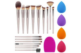 Syntus Makeup Brush Set, Premium Synthetic 16 Makeup Brushes and 4 Sponges and 1 Cleaner Mat for Eye Shadow Blush Powder Foundation Kabuki Concealer