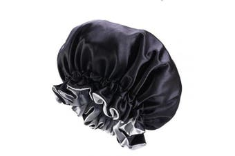 Cospack Satin Bonnet for Natural Hair Bonnets for Black Women Silk Bonnet for Curly Hair Cap for Sleeping Silk Sleep Cap Hair Bonnet (Black)