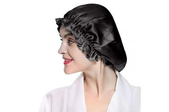 (Black+Silver) - Satin Bonnet Adjustable Sleep Cap Extra Large Silk Night Hats Hair Bonnet Black Double Layer Reversible for Women Girls Curly Hair