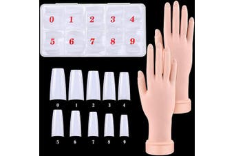 2 Pieces Manicure Hand Practise Tool Nail Training Practise Hand Flexible Bendable Manicure Hand and 500 Pieces French Nail Tips Artificial False Full Cover Nail Tips for Ladies Girls