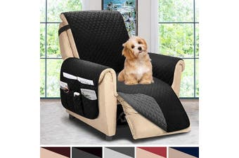 (Large, Black/Dark Grey) - ASHLEYRIVER Reversible Recliner Chair Cover, Sofa Covers for Dogs,Sofa Slipcover,Couch Covers for 3 Cushion Couch,Couch Protector(Recliner Oversize:Black/Dark Grey)